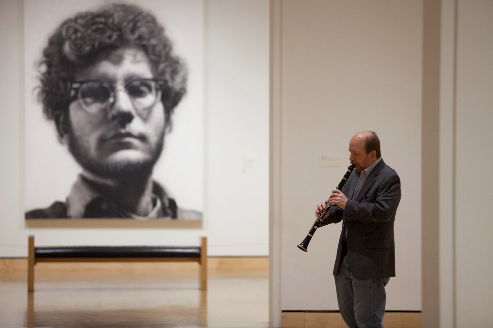 Pop-up musical performance in the Modern and Contemporary galleries by clarinetist Sean Egan; galleries 373-377
